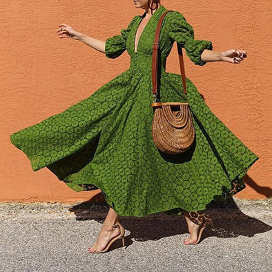 Fashion Solid Green Bohemian Dresses for Women  Lantern Sleeve Big Hem Summer Beach Dresses Sexy V Neck Party Vestidos