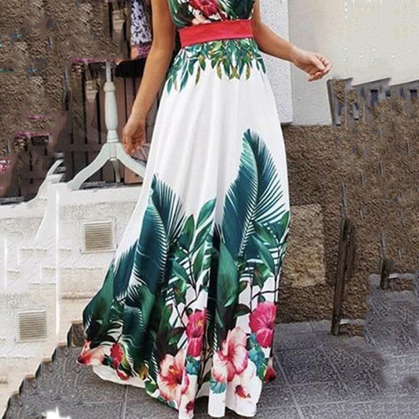 Fashion Women Summer Suspender Dress V-Neck Sleeveless Collect Waist Bohemian Print Evening Party Maxi Ankle-Length Long Dress