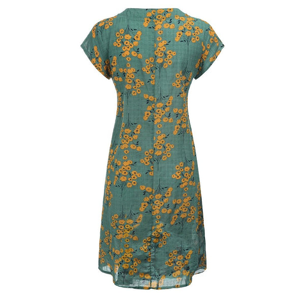 Fashsiualy Women Vintage Flower Printed V-Neck Short Sleeve Plus Size Casual Dress  summer dress sexy dresses dames jurken