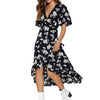 Floral Print Beach Dress Summer Boho Style Ruffles Chiffon Dress Casual Short Sleeve Sexy V-Neck Split Party Dresses Robe Femme