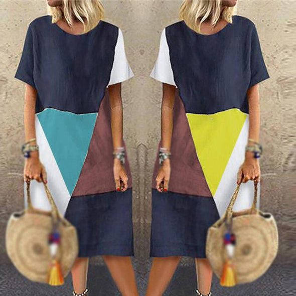 Womens Dress Ladies Beach Summer Short Sleeve A Line Fashion Party Loose Fit Midi Sundress