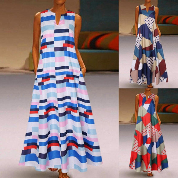 2019 Women Summer Dress Bohi Women Plus Size Print Daily Casual Sleeveless Vintage Bohemian V Neck Maxi Dress vestidos Plus Size