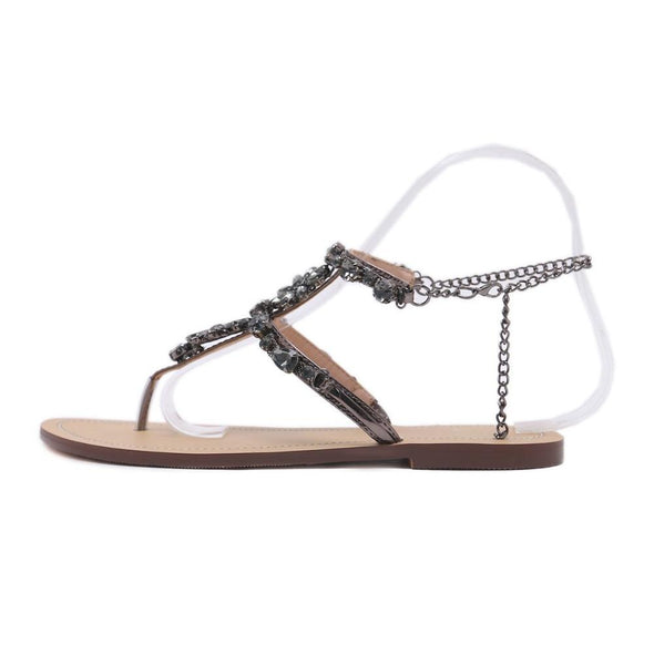 6 Color Woman Sandals Women Shoes Rhinestones Chains Thong Gladiator Flat Sandals Crystal Chaussure Plus Size 46 Tenis Feminino