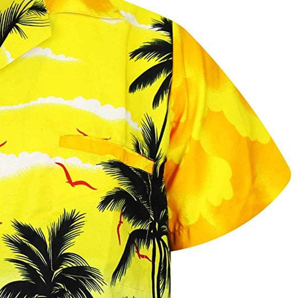 2019 New Male Hawaiian Shirts Fashion Men's Casual Button Hawaii Print Beach Short Sleeve Quick Dry Top Blouse M-3XL four colors