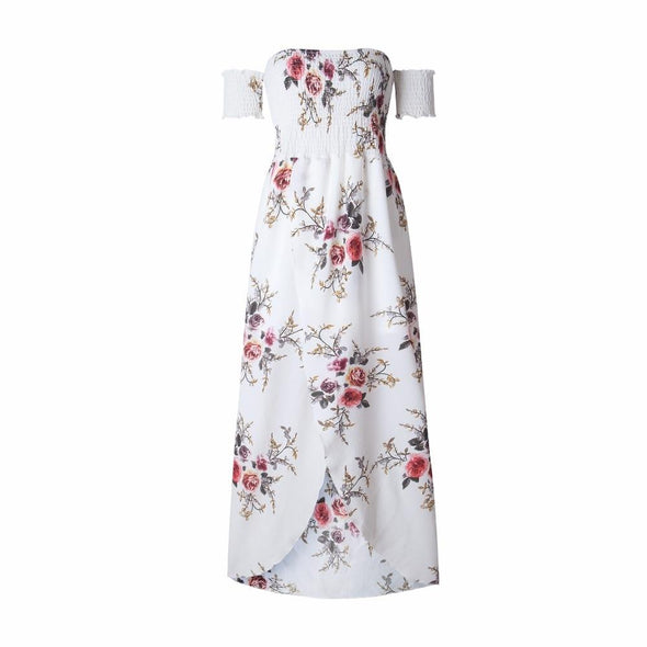 Boho style long dress women Off shoulder beach summer dresses Floral print Vintage chiffon white maxi dress vestidos de festa