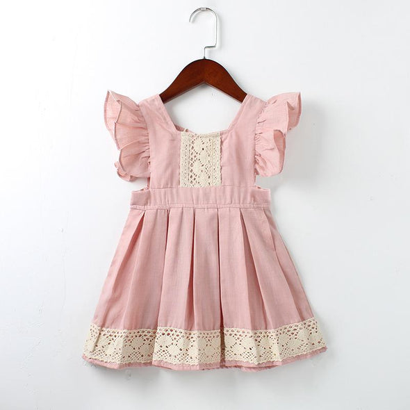 Baby Girls Dress Summer Beach Style ruffles lace Backless Dresses For Girls Vintage Toddler Girl Clothing 1-5Yrs bebe vestidos