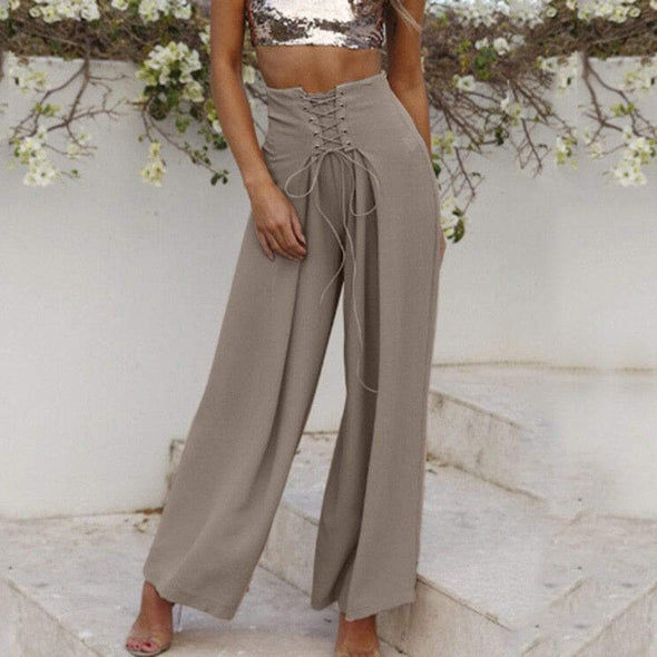 Womail Women Pants summer New Cotton Pants Wide Leg Solid Elastic Waist  Long Pants Fashion daily  Loose Trousers 2019 A18