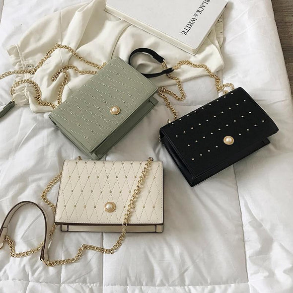 PU Leather rivet design Crossbody Bags For Women 2019 Small Chain Handbag small bag Hand Bag Ladies Designer Evening Bags