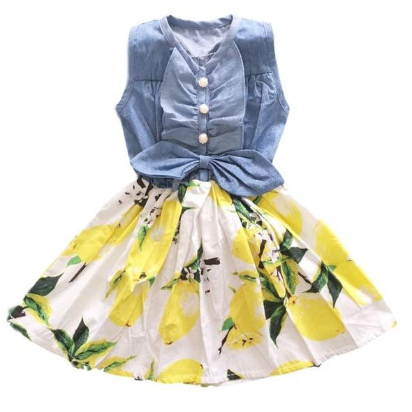Girls Dress Children's Clothing  Summer New Cotton Sand Wash Denim Stitching Cartoon Pattern Girl Dress 3-7Y Kids Clothing