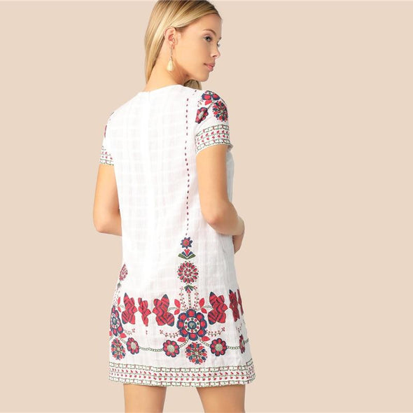 Bohemian White Floral Print Textured Tunic Summer Dress Women 2019 O-Neck Zip Back Straight Short Elegant Dresses