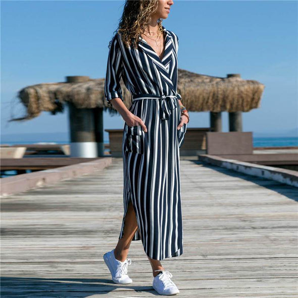 2019 Summer Long Dress Women Casual Striped Print Shirt Dress Lady Sexy V-Neck Elegant Beach Party Dress With Pockets Vestidos