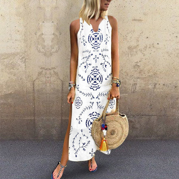 2019 Spring Summer New Women's Printed Sleeveless Maxi Dress Split Hem Baggy Kaftan Slim Fit Body Long Dress  for Women