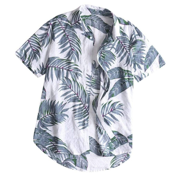 Hawaiian style Men's short Sleeve Print Shirt Vacation Plus Size Casual Stand Collar Button Loose Shirt Apparel Comfort Tops