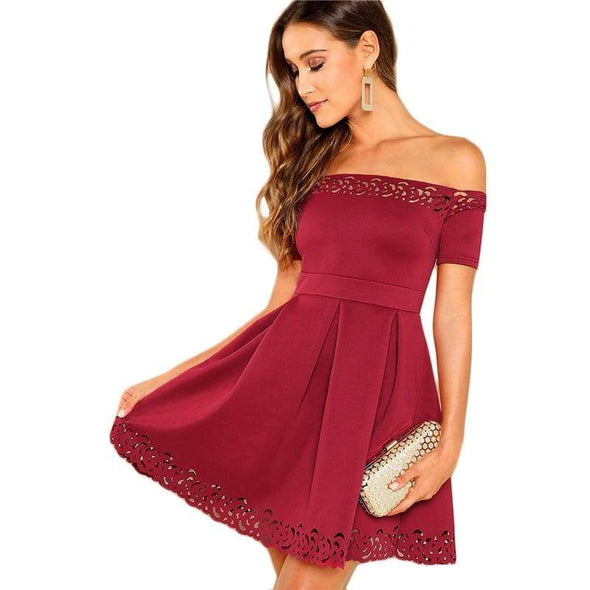 Burgundy Elegant Off Shoulder Laser Cut Fit and Flare Mid Waist Mini Dress Women Summer Short Sleeve A Line Party Dresses
