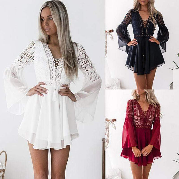 Hollow Out Chiffon Dress Sexy Women Mini Dress Criss Cross Bandage Lace Semi-sheer Plunge V-Neck Long Sleeve Dress Black/White