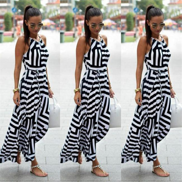 Womens Boho Floral Summer Beach Striped Printed Long Dress Evening Party Dress