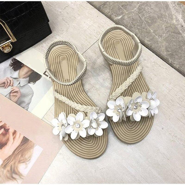 Women Appliques Elastic Band Shoes Flat Sandals Shoes Female Woven Sandalias Slides Ladies Beach Summer Slingback Sandals
