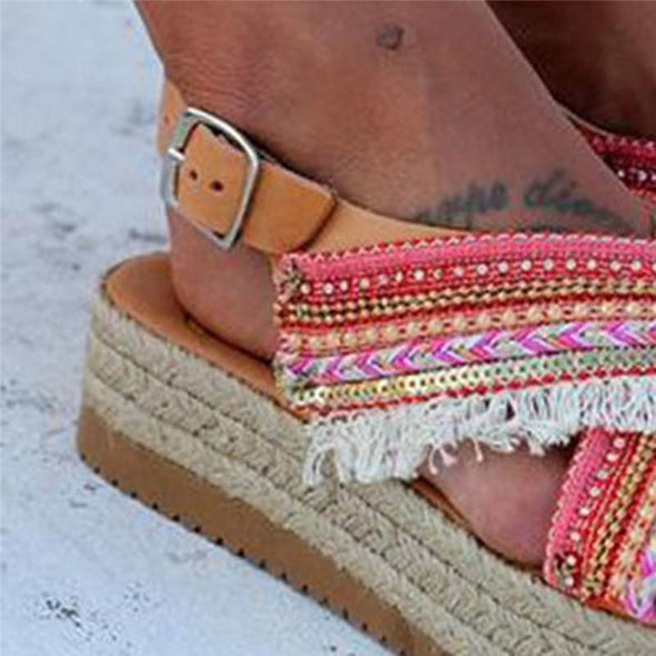 Summer Women Tassel Beading Buckle Design Beach Shoes Sandals Bohemian Ladies Thick Bottom Roman Gladiator Sandals Shoes #40