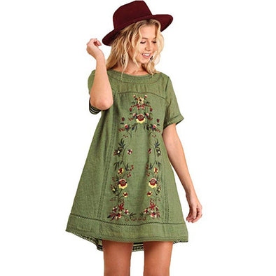 Summer Dress women Bohemian Embroidered Short Sleeve Dress or Tunic Plus Size t shirt Dresses vestidos