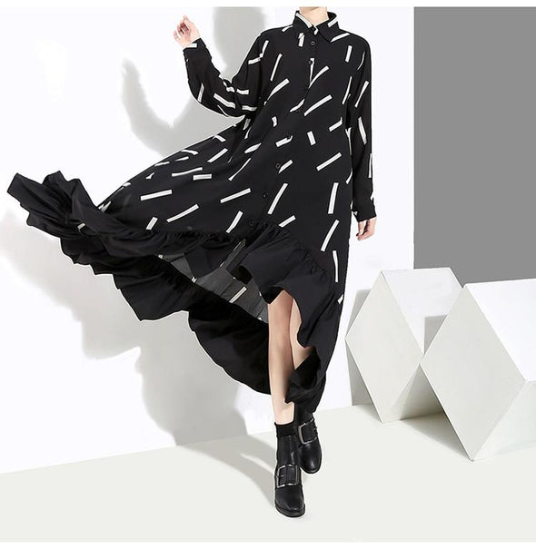 New 2019 Women Autumn Winter Long Black Stylish Shirt Dress Striped Print Ruffle Long Sleeve Lady Elegant Party Dress Robe