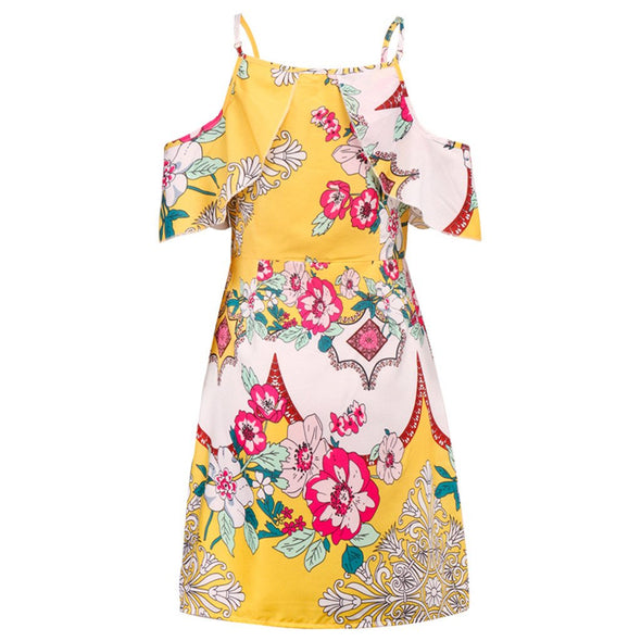Women Summer Sexy Maxi Bohe Off Shoulder Print Strappy Flare Short Mini Flower Printing Dress