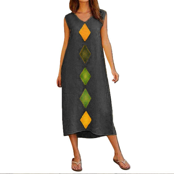 Feitong Cotton Linen Dress Women Bohemian Summer Sleeveless Robe Femme V Neck Vestidos De Veranos Printed Casual Long Maxi Dress