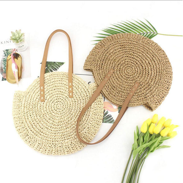 Straw bag Women's fashion shoulder bag center round rattan straw hand-woven bohemian large size beach bag