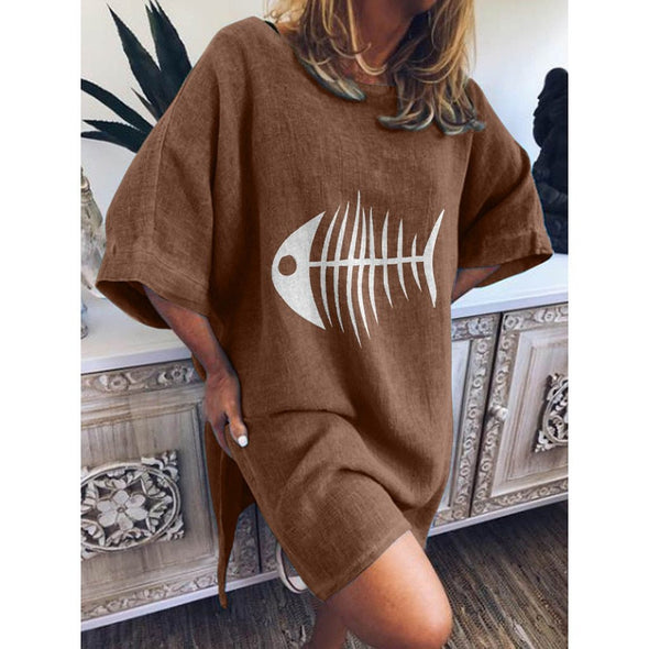 2019 Spring Summer New Women Casual Funny Fish Bone Print Dress O-Neck Blouse Short Sleeve Loose Women Ventilation Dress