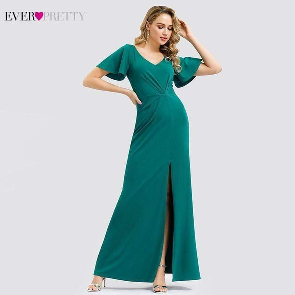 Elegant Turquoise Mermaid Bridesmaid Dresses Ever Pretty V-Neck Side Split Short Sleeve Wedding Guest Dresses Vestido Madrinha