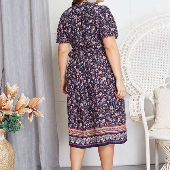 FREE OSTRICH Explosion Floral National Wind Vneck Large Size Dress Women Large Size Flower National Wind High Waist Summer Dress