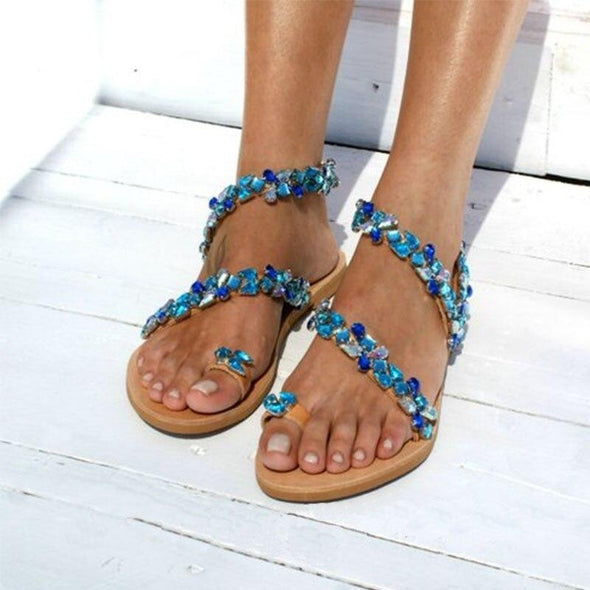 New Women Fashion Rhinestones Chains Flip Flops Thong Beading Gladiator Sandals Casual Summer Beach Shoes Crystal Flat Sandals
