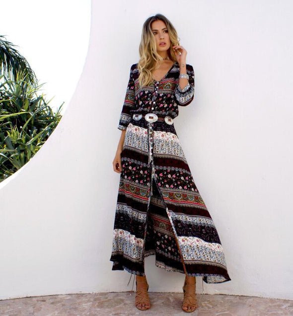 Bohemian Printing Long Dress Women Maxi Long Dress Floral Print Retro Hippie Vestidos Boho Dresses