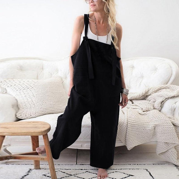 CALOFE 2019 Fashion Women Solid Dungarees Jumpsuit Spring Casual Sleeveless Trousers Strap Baggy Harem Sport Loose Jumpsuits