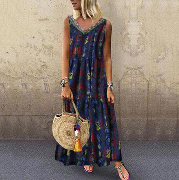 Long Dress Women Summer 2019 Vintage Folk Print V-neck Sleeveless Maxi Dress Plus Size Bohemian Loose Cotton Linen Robe Vestidos