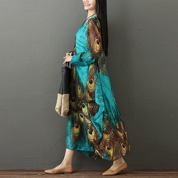 2019 New Autumn Women Long Dress Vintage Maxi Dresses Peacock Print Long Sleeve Beach Sundress Female Casual Vestidos Oversized