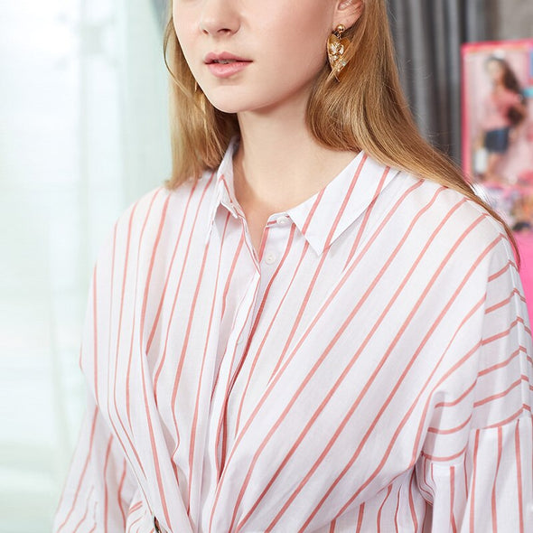 2019 New Women's Striped Lace-up Two-way 3/4 Sleeves Blouse Shirt