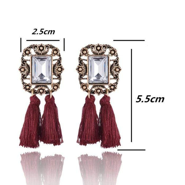E0502 Bohemian Long Statement Tassel Drop Earrings Luxury Resin Beads Tassel Earrings For Women 7 Color Choice Dangle Earrings