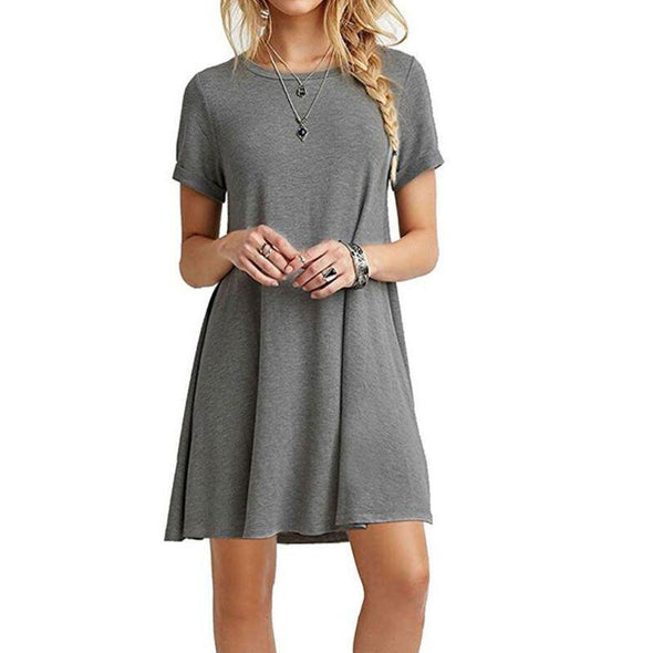 Womens Summer Plus Size Short Sleeves Midi Swing T-Shirt Dress Plain Solid Color Crew Neck Casual Loose Pullover Tunic Tops