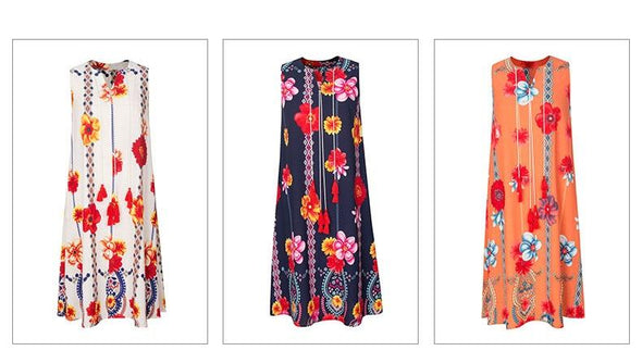 Laughido Plus Size Floral Print Loose Dress Women Sleeveless Cotton Tassel Dress Beach Boho Vestidos Summer Slim Party Robe
