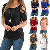 Women Summer Short Sleeve Strappy Cold Shoulder T-Shirt Tops t shirt Women Short O-neck Top Tees Feminina Camiseta