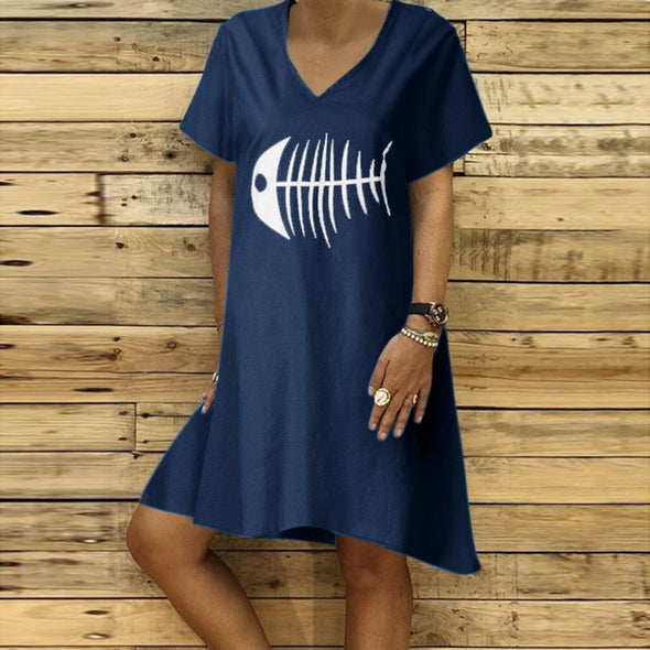 Women Summer Loose Straight Dress Fish Bone Print Short Sleeve Dress V Neck Linen Holiday Vocation Beach Casual Daily Wear Dress