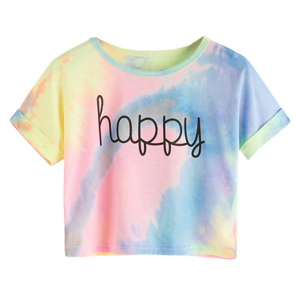 Happy Letter Printed Tie Dye Print Knot Front Casual Girls T-Shirts Children 2019 Summer Cap Sleeve Colorblock Kids Casual Tees