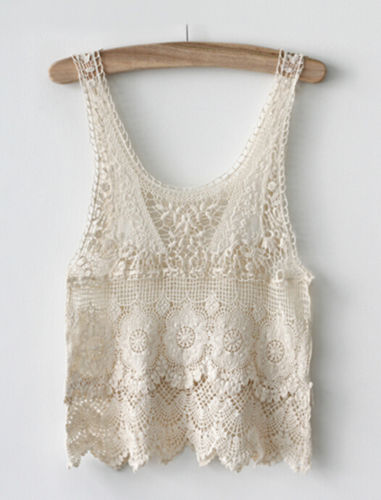 Newest Arrivals Fashion Hot Chic Women Summer Sexy Hippie Boho Crochet Lace Beige Vest Hollow Out Sleeveless Tank Top