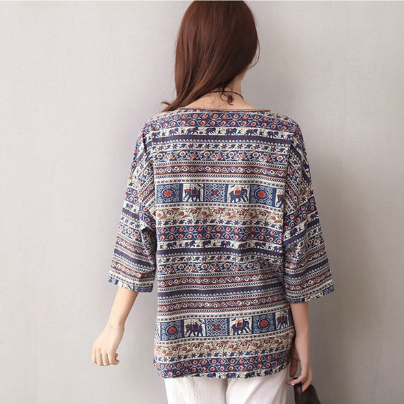 Indie Folk Style Women Linen Tops Loose Summer Boho Printed 3/4 Sleeve Blouse Casual Vintage Shirt Baggy Blusas Tunic Plus Size