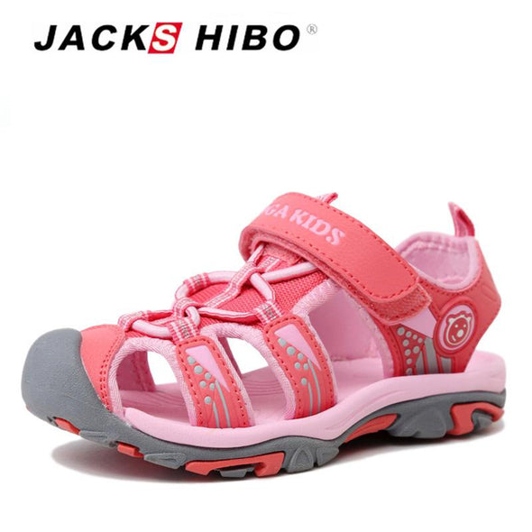 Boys Sandals Kid Sandals Summer Water Shoes Beach Sandals for Children Close Toe Anti-Skid Cut-Outs Sandals,Pink,4.5