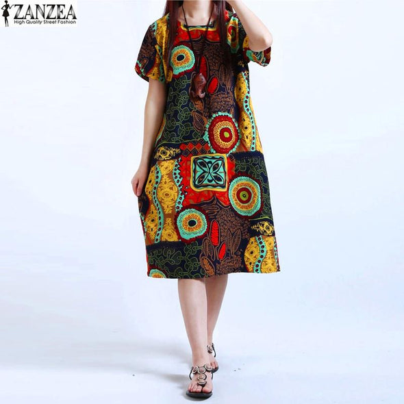 M-5XL Womens O Neck Floral Print Short Sleeve Cotton Linen Casual Knee Length Dress Baggy Tunic Kaftan Plus Size
