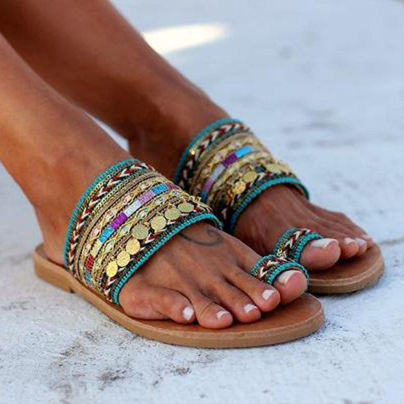 Ethnic Sandals Woman Shoes Greek Style Flat Sandals Bohemia Sandals