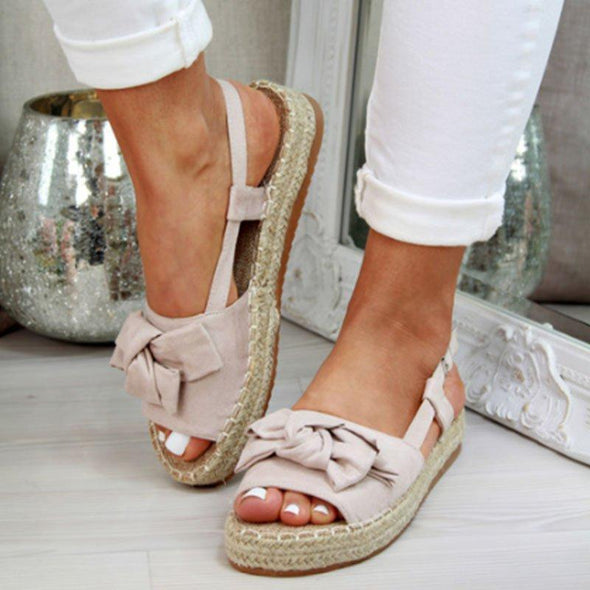 MoneRffi Hemp Womens Sandals Flats Sandals For Summer Shoes Woman Peep Bow Casual Shoes Sandalias Mujer For Women 2019