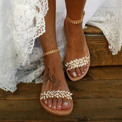 Summer Flat Sandals Women Fashion Rhinestone Open Toe Buckle Sandals Wedding Party Plus Size