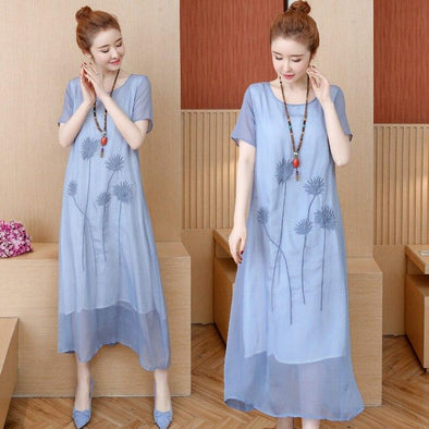 2019 New Summer dress Printing Loose Short sleeve embroidery Cotton Linen Long Dress Vintage Long dress Vestidos Robe